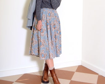 70s Floral Midi Skirt with Pockets