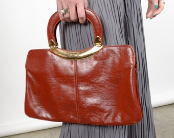 1950s Brick Red Leather Handbag / by Handi-Bag / made in USA