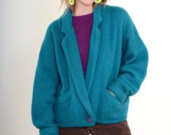 80s Fuzzy Chunky Knit Sweater Jacket