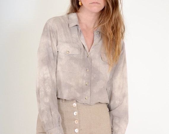 Reworked Silk Blouse / Med - Large