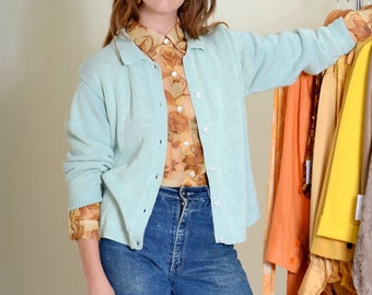 90s Sky Blue Button Sweater