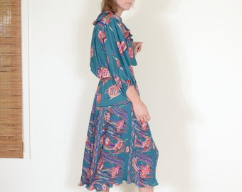 80s Floral Balloon Sleeve Georgette Dress by Diane Fries