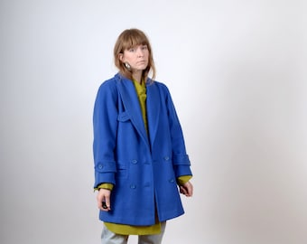 1980s Royal Blue Wool Blend Blazer Coat / made in USA by Michael Lewis / small - medium