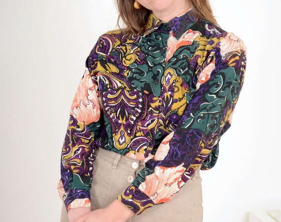 80s Chanterelle Pattern Button Up / Med - Large