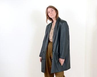 80s Green Leather Blazer Coat