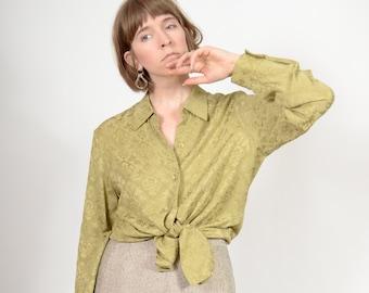 Green Silk Damask Blouse / by Jones New York / medium - large