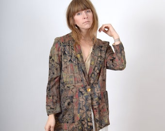 1980s Abstract Pattern Blazer / made in USA / medium - large