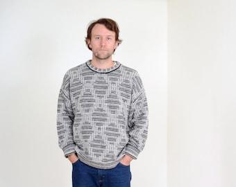 80s Diamond Knit Sweater / Mens Vintage Acrylic Knit Pullover / fits Medium - Large - XL