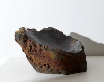 Hand Cut Deep Black Stone Bowl