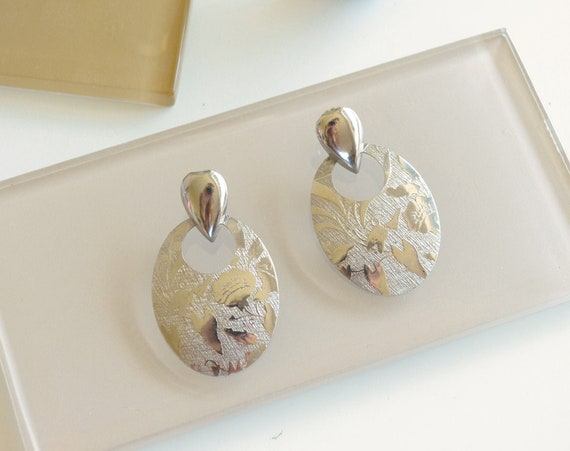 Embossed Silver Statement Earrings