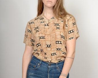 1980s Block Pattern Silk Tee / Deadstock Vintage / small - medium - large