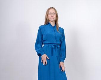 Cobalt Blue Silk Dress / Button Top Shirt Dress / Minimal Style Vintage 80s Dress / Medium