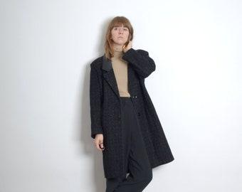 1980s Black Tweed Blazer Coat / by David Benjamin / medium - large