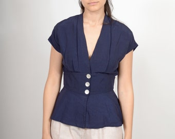 Navy Button Front Peplum Blouse / made in the USA / medium
