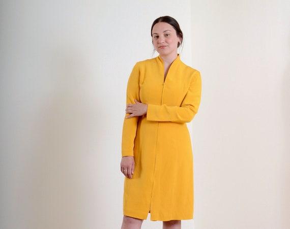 90s Mango Silk Zipper Dress / Small - Med