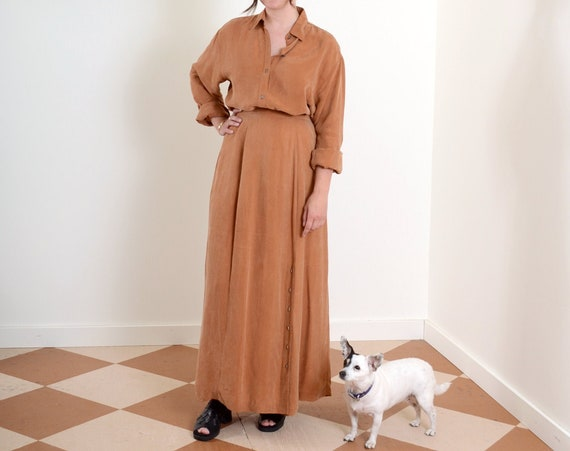 90s Clay Two Piece Skirt Set / Small - Med