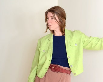 80s Chartreuse Linen Cropped Jacket