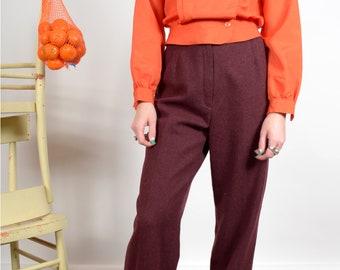 """1970s Burgundy Wool Blend Trousers / small - medium / 27"""" waist"""