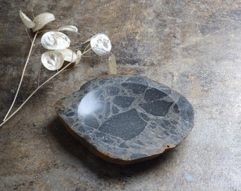 "Hand Cut Grey Stone Dish / Made in Minnesota, USA / 6.5"" x 5.5"" x 1"""