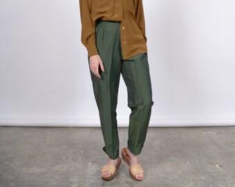 "High Waisted Emerald Trousers / by GAP / 26"" waist"