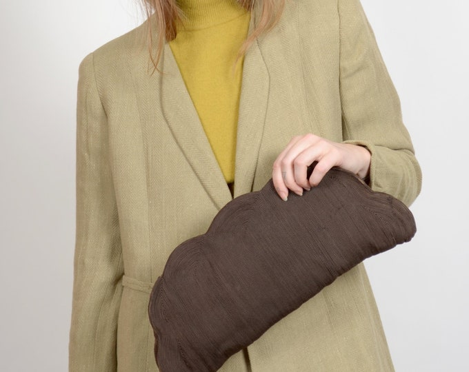 """Featured listing image: 50s Scalloped Edge Cord Clutch / 2 Inner Pockets / 16"""" x 8"""""""