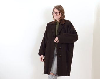 80s Dolman Sleeve Coat with Leather Collar