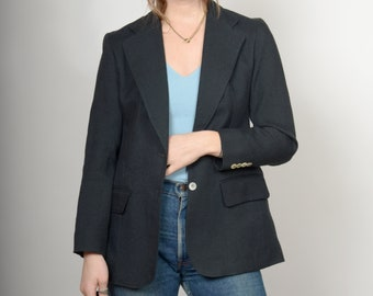 1970s Tailored Black Blazer Jacket / made in USA by Evan Picone / small - medium