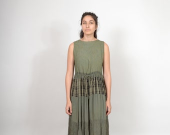 Tiered Skirt Plaid Maxi Dress / made in India / medium - large