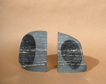 "Hand Cut Stone Bookends / Black with White Streaks / Made in Minnesota, USA / 6"" height"