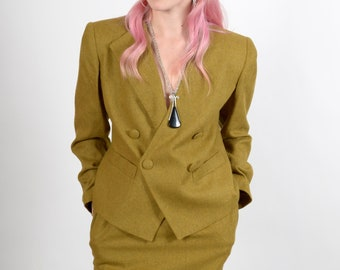"1980s Brassy Green Skirt Suit / by Sweet Suit Petites / small - medium 26 - 27"" waist"