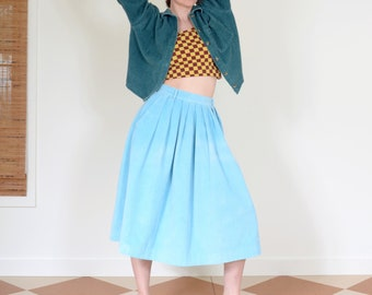 80s Sky Blue Corduroy Pocket Skirt