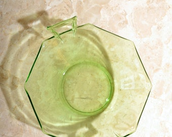 Green Glass Octagon Dish