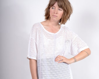 White Fishnet Tee / 100% Cotton / medium - large - XL