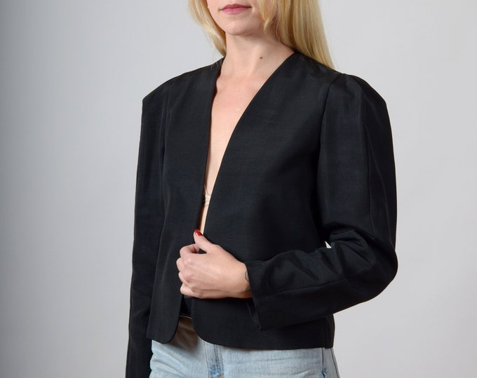 Featured listing image: 1980s Puff Shoulder Cropped Jacket / made in USA by Regina Kravits / XS - small