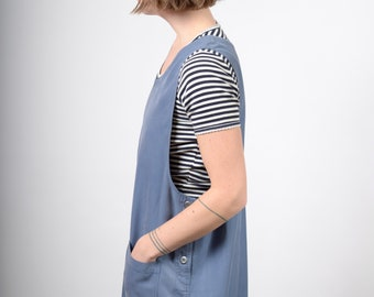 Dusty Blue Midi Jumper Dress / medium - large