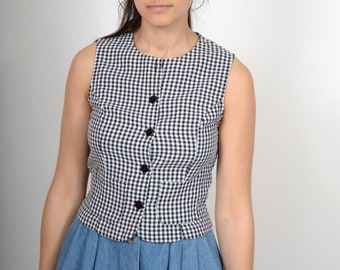 Gingham Plaid Button Tank / Minimal Style Vintage 90s Sleeveless Top / Black and White Plaid / size Small