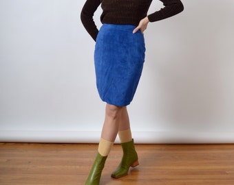 """1980s Blue Suede Pencil Skirt / by EXPRESS / size 9 / 28"""" waist"""