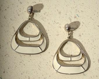 "Vintage Ivory Enameled Dangle Earrings / 2"" length"