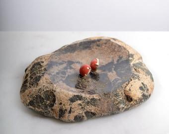 "Hand Cut Black Marked Stone Dish / Made in Minnesota, USA / 7"" x 5.5"""