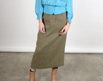 """1980s Plaid Wool Column Skirt / by Ralph Lauren / 26"""" waist"""