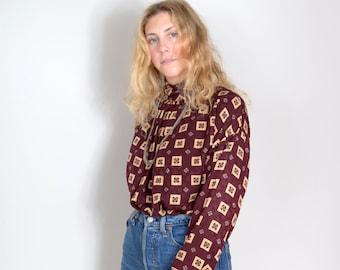 80s Patterned Silk Blouse by Anne Klein II