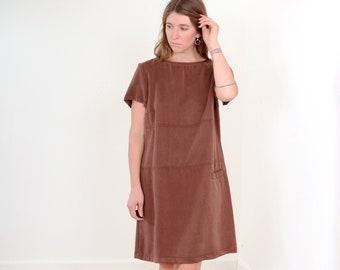 90s Brown Tencel Shift Dress