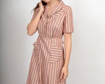1940s Pink Striped Cotton Shirtdress / by Nancy Frock / medium - large