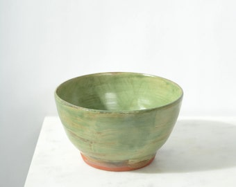 "Green Ceramic Serving Bowl / Found Pottery signed by SWA / 6"" width"