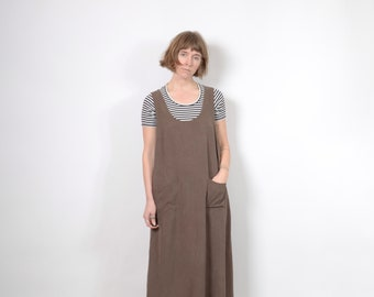 Pastel Brown Sleeveless Midi Dress / medium - large