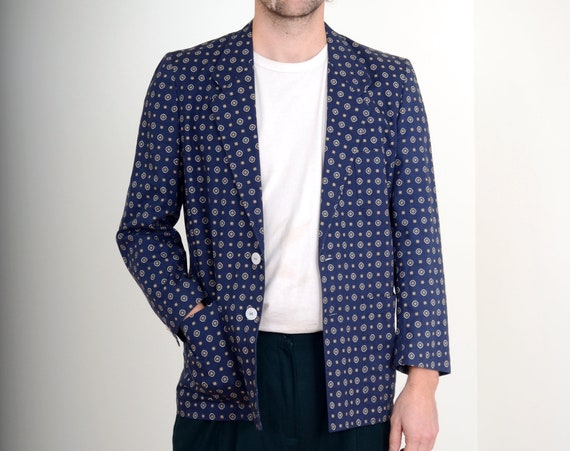 80s Patterned Linen Blazer Jacket