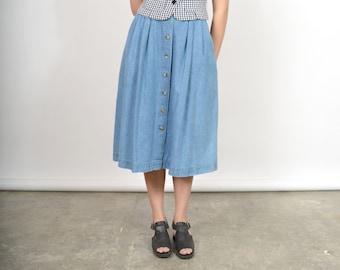 "Denim Button Front Midi Skirt / 100% Cotton / size 32"" waist"