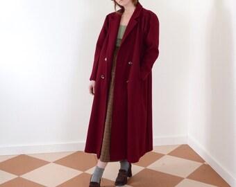 Long Burgundy Wool Coat