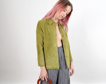 1990s Chartreuse Suede Jacket / by CLIO / XS - small