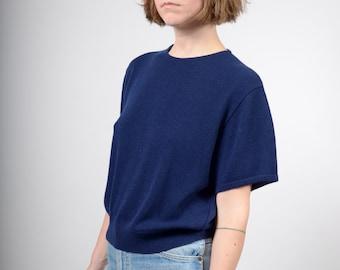 Minimal Navy Blue Knit Tee / by San Remo / medium - large - XL